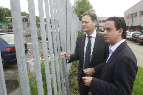 Managing director Dean Mero, right, looks at the land next to his Mill Hill East factory with Hendon MP Matthew Offord