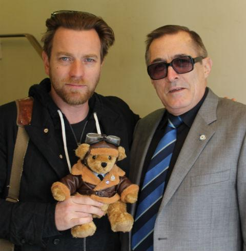 Mr Gimes with Ewan McGregor and the official Bomber Command bear