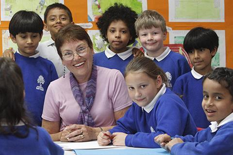 Gill Barker meets children at Northside Primary School