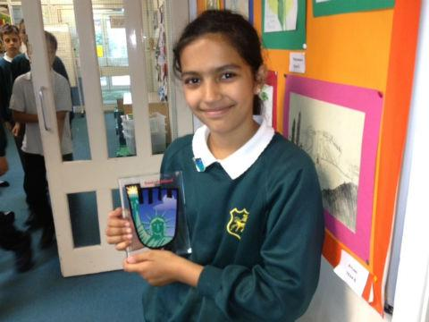 Daniyah Ahmed, 11, with her design