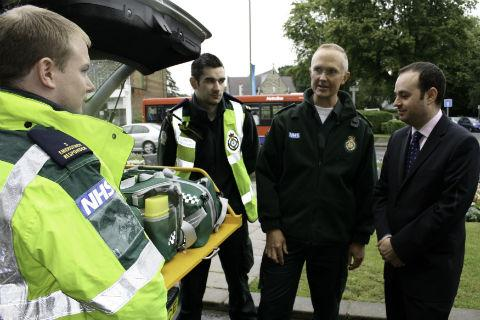 Cllr Robert Rams hands over keys to the borough's new emergency medical response vehicle