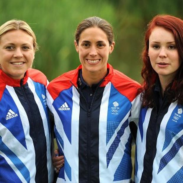 The Great Britain Triathlon Women's team of Helen Jenkins, Lucy Hall (right) and Vicky Holland (left)