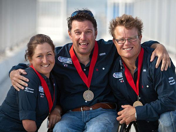 READY FOR THE GAMES: John Robertson, centre, with crew members Hannah Stodel and Steve Thomas