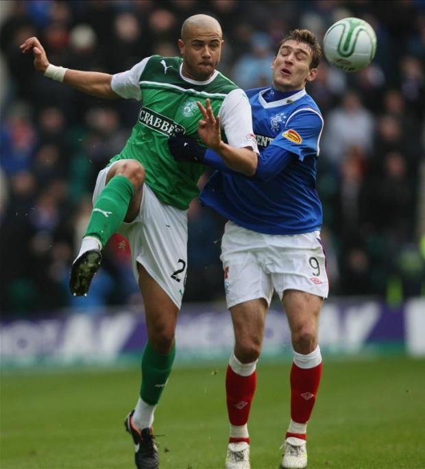 David Stephens (left) in action for Hibs Picture: Action Images