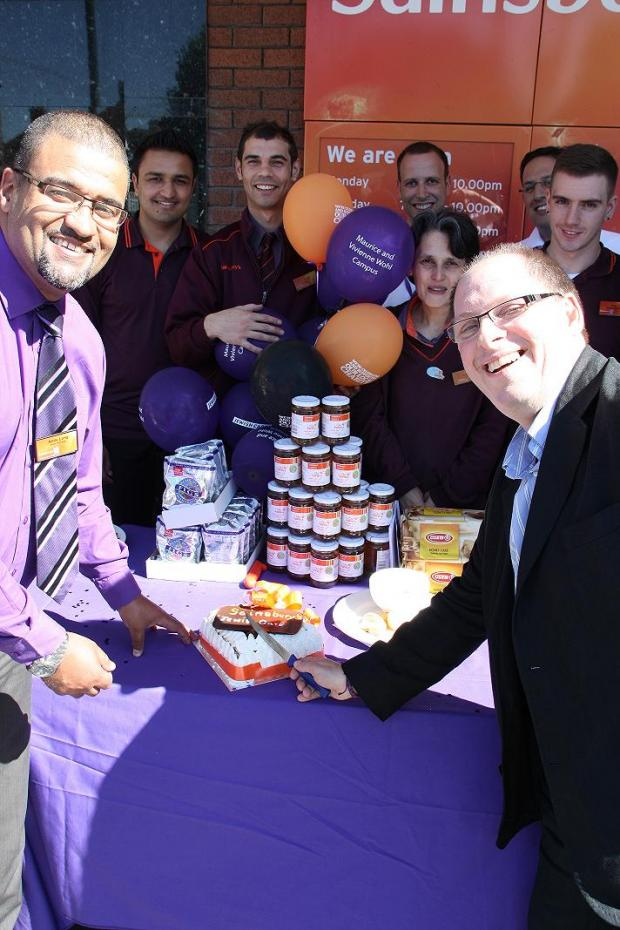 Andy Long, Store Manager of Sainsbury's Golders Green( left) and Simon Morris CEO of Jewish Care (right) outside Sainsbury's, Golders Green.