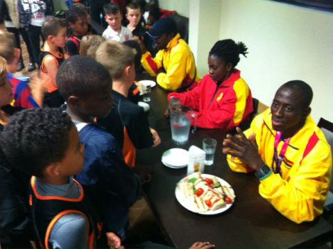 A trio of Paralympians from Ghana dropped in to inspire the next generation of sportsmen at Barnet FC's training ground