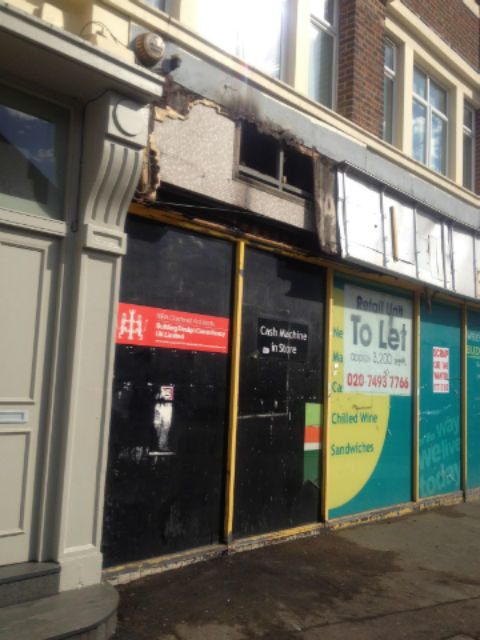 Fire at former supermarket in Brent Street, Hendon
