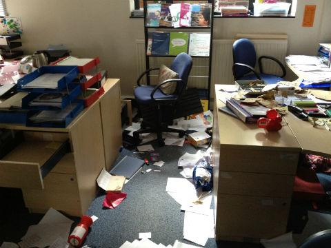 Thieves smashed open the front door of Barnet Mencap's Hendon Lane headquarters before trashing the large offices