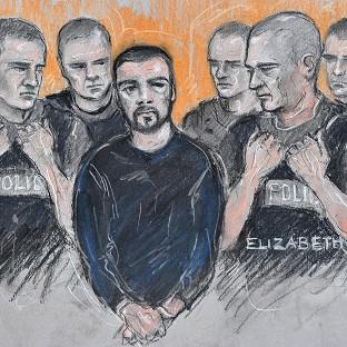 Sketch of Dale Cregan appearing at Manchester Magistrates' Court (Elizabeth Cook/PA Wire)