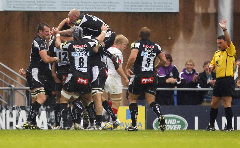 Exeter celebrate their match-winning try