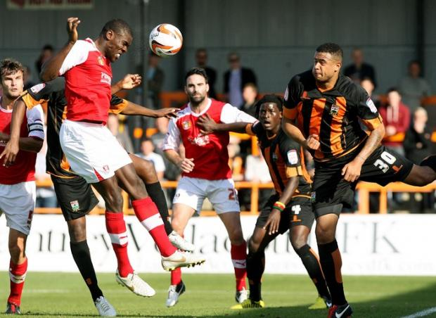 David Stephens, right, in action against Rotherham. Picture: J Macdonald-Fulton