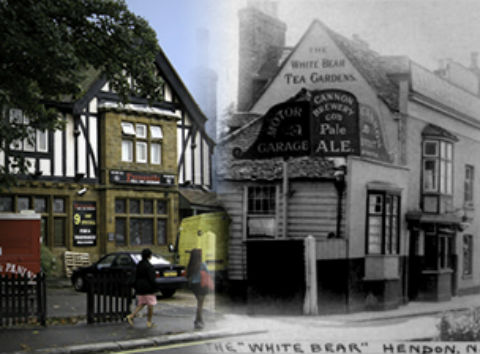These past and present photos of The White Bear pub, in The Burroughs, Hendon, give an idea of what the images will look like