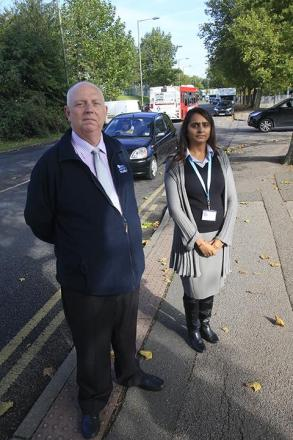 Dave Rowe, general manager at RAF Museum, and museum employee Anji Patel near Grahame Park Way