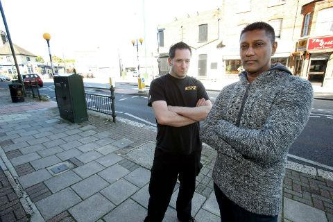 Marlon Medway (left) and James Bernard were surprised police allowed the man to drive away from the collision