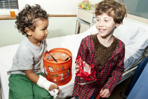 Times Series: Louis Gringras, nine, with four-year-old patient Christian Uranie