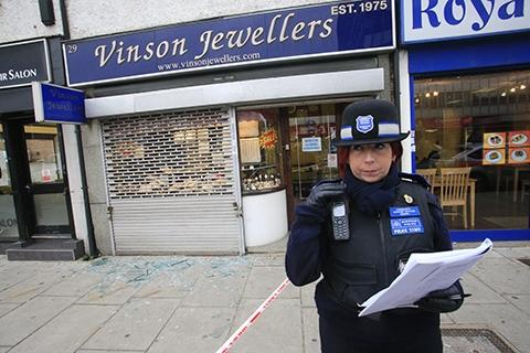 Robbers targeted Vinson Jeweller's, in Station Road, when they smashed the front window of the shop