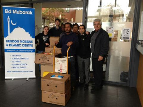 Volunteers collected more than 30 boxes of food and toiletries for homeless people