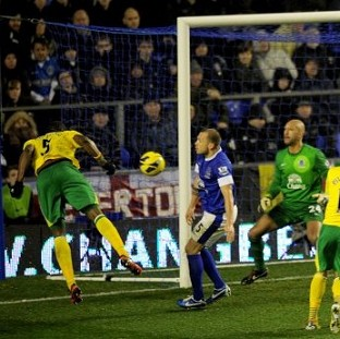 Sebastien Bassong, left, scores the equaliser