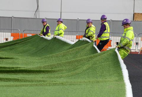 The first pieces of the synthetic surface were put down at Allianz Park yesterday