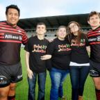 Times Series: Saracens' players Mako Vunipola and Alex Goodie with juice bar's Robin McDonald, Laura Davitt and Giulia Capitelli