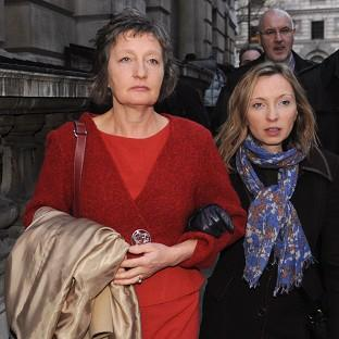 Pat Finucane's widow Geraldine arrives with her daughter Katherine to read the review of the report into the murder of the Belfast solicitor
