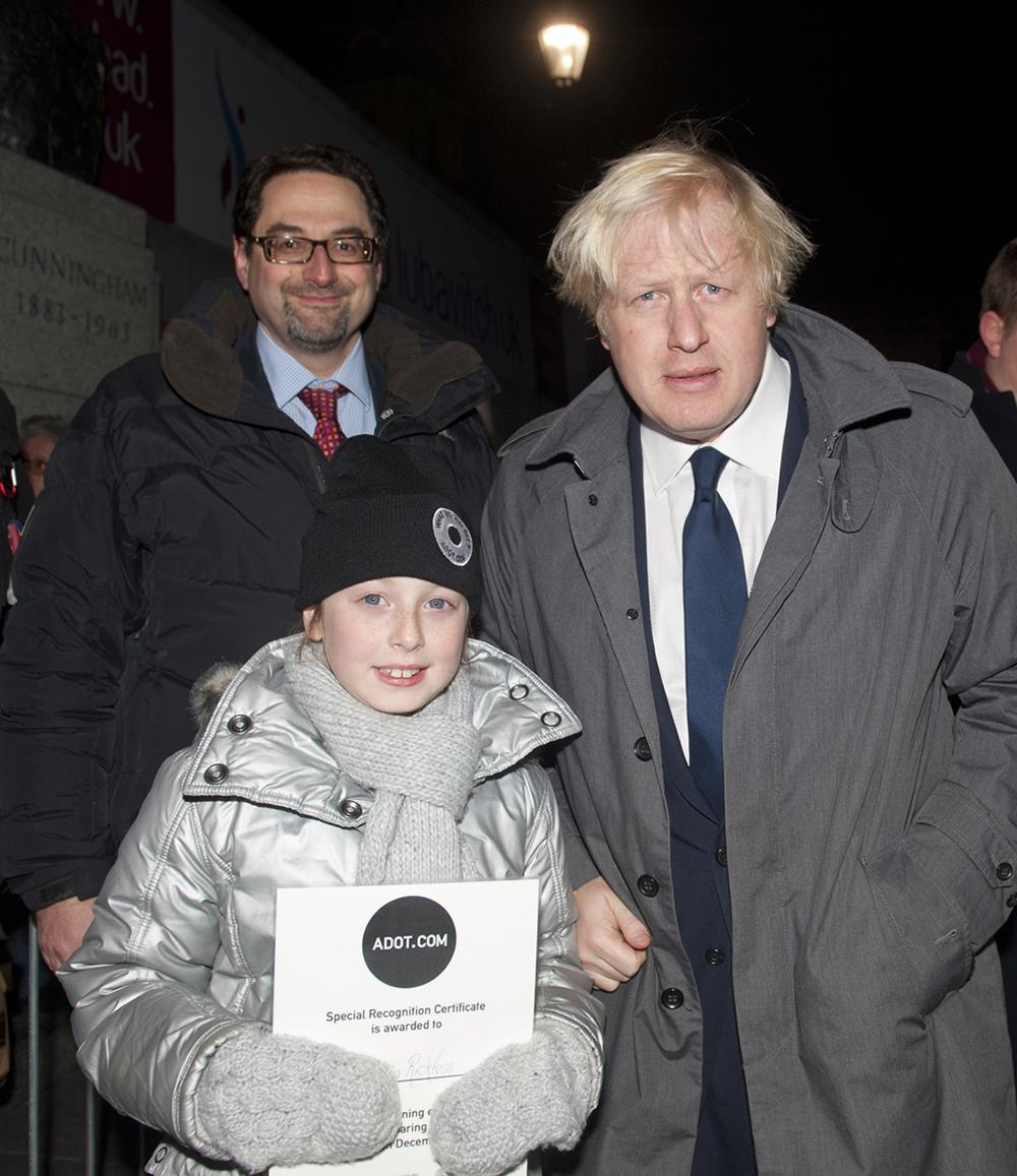 Georgia Rickless meets Boris Johnson at Chanukah in The Square party