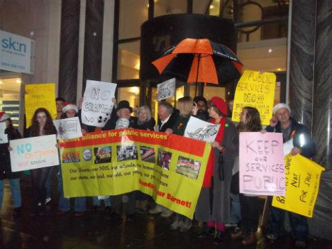 Protesters gathered outside Capita's London headquarters yesterday