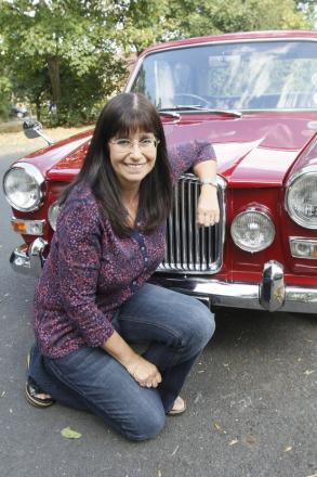 Mrs Lee with her red Vanden Plas Princess