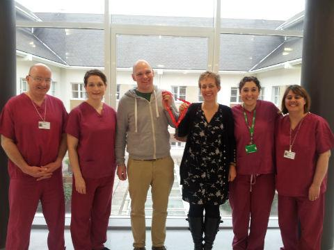 John Simmonds (third from left) with staff at Barnet Hospital