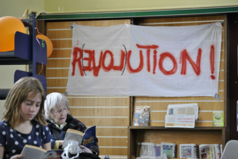 Squatters gained access to the empty building in September and have since helped a number of community groups set up their own library. Pic: Joanna Murray