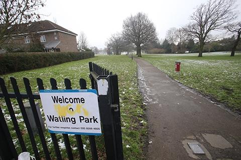 Two 16-year-old boys were attacked by a gang of men near basketball courts in Watling Park