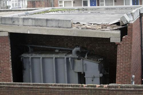 The explosion caused a partial collapse to the surrounding brick building and a small fire started in the roof
