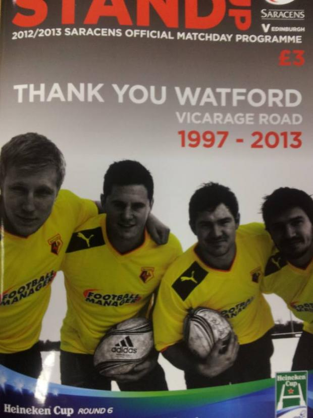 Times Series: Jackson Wray, Andy Saull, Alex Goode and Adam Powell on the front cover of Saracens' matchday programme on Sunday