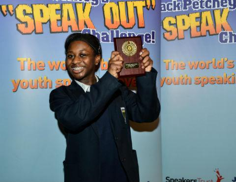 Mari-Ann Bolodeoku celebrates after winning Barnet's Jack Petchey's Speak Out Challenge