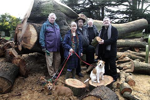 Times Series: Reverend Gwyn Clement with Hendon residents by the remains of the cedar tree