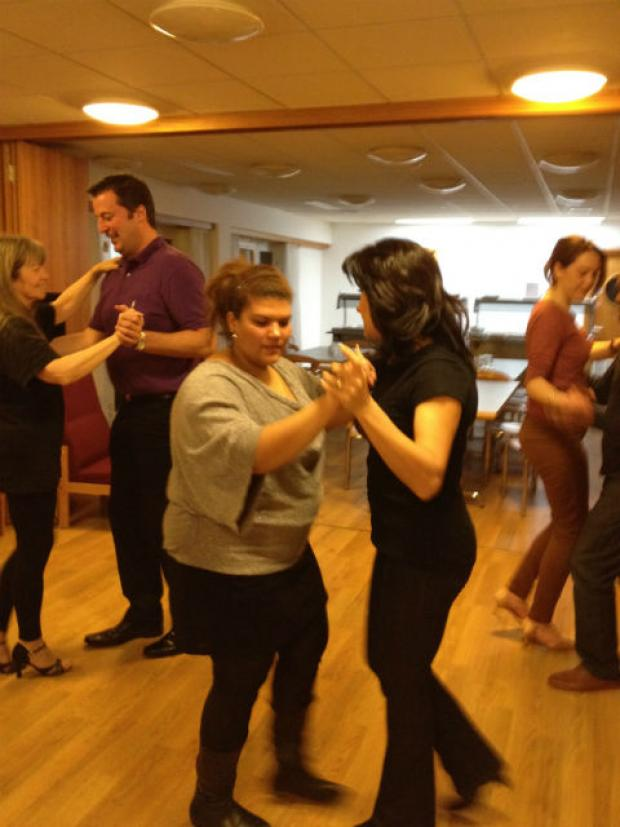 Mina Queen Salsa shows Dancing Strictly contestants how it's done