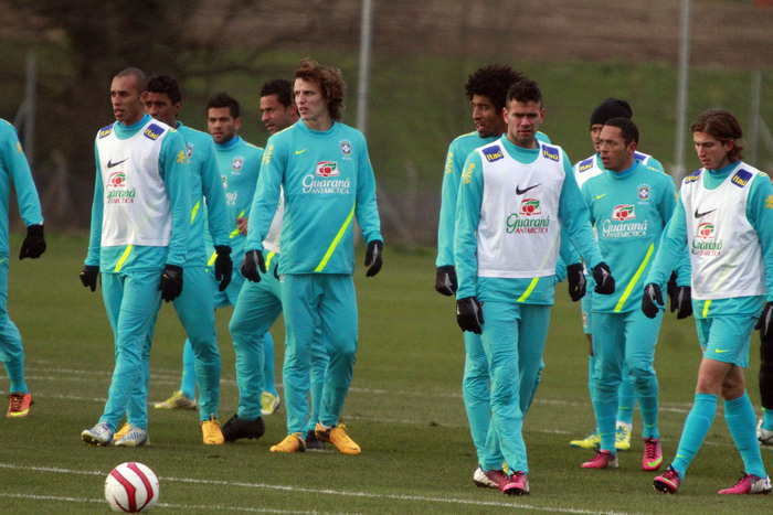 Brazil squad at Barnet's training ground the Hive