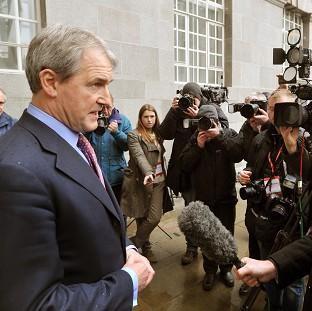 Times Series: Environment Secretary Owen Paterson speaks to the media outside Defra headquarters in central London