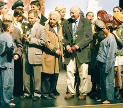 History lesson: the cast of Remember after their performance at the artsdepot on May 10. Centre left to right, Holocaust survivors Rudi Oppenheimer, Anita Lasker-Wallfisch and Roman Halter.