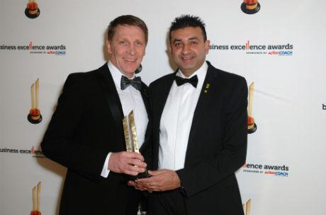Barry Fisk and Sanjai Talsania with their award