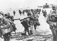 Invasion force: American troops land on the Normandy beaches on D-Day, June 6, 1944, at the start of the Allied operation