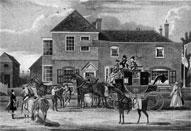 In the post: this 1825 picture shows the mail coach changing horses at the White Lion in East Finchley. The pub shown here was rebuilt in 1938 and was popular with carters, who took the locally grown hay crops to London