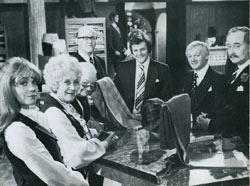 I'm free! Stars of Are You Being Served?, filmed at Elstree in 1977