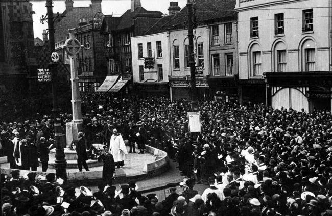 In memorium: large crowds attended the official opening of Barnet's war memorials. Chipping Barnet's, above, was unveiled by Sir Julian Byng on April 3, 1921