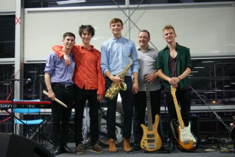 Tyler Rix (centre) with the other members of the Tyler Rix Quartet.