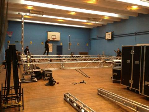 Television crews yesterday began setting up at the Woodside Grange Road school's gym. Pic tweeted by Finchley Catholic High School.