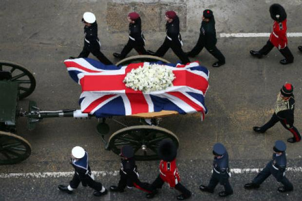 Millions of people are expected to have watched Baroness Thatcher's funeral, which was televised around the world. Pic: Getty Images