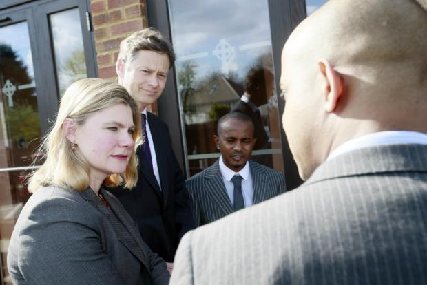 Justine Greening with Mathew Offord MP, Abubakar Ali and Mohamed Ali.