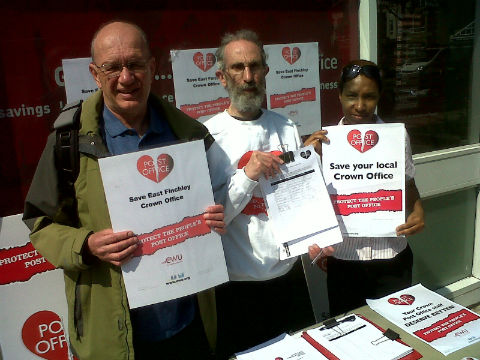 Post Office staff were joined by campaigners as they went on strike outside East Finchley Post Office over the relocation plans last year.