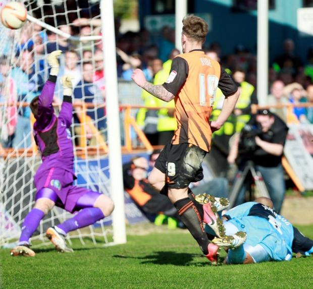 Times Series: Jake Hyde scores the final Barnet goal at Underhill.